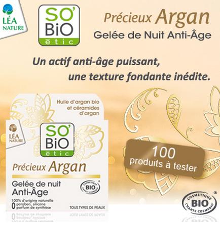 Test de produit : Gelée de Nuit Anti-Age Précieux Argan de SO'BiO étic - anti-crise.fr
