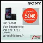 Offre de Remboursement (ODR) Free : jusqu'à 50 € sur Sony Xpéria Z1 - anti-crise.fr
