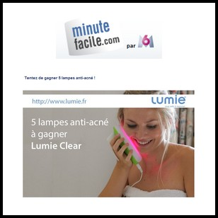 Tirage au sort Minute Facile : 5 lampes anti-acné à Gagner - anti-crise.fr