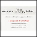 Tirage au Sort We Are The Shops sur Facebook : Un chèque cadeau Antik Batik de 50€ à Gagner - anti-crise.fr