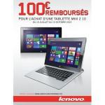 Offre de Remboursement (ODR) Lenovo : 100€ remboursés pour l'achat d'une tablette MiiX 2 10 - anti-crise.fr