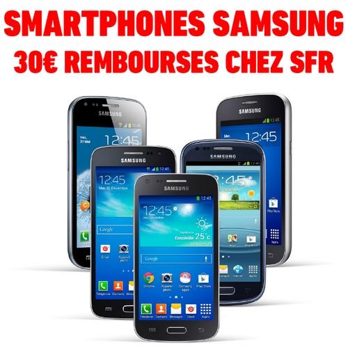 ODR offre de remboursement 30€ sur smartphone samsung chez sfr