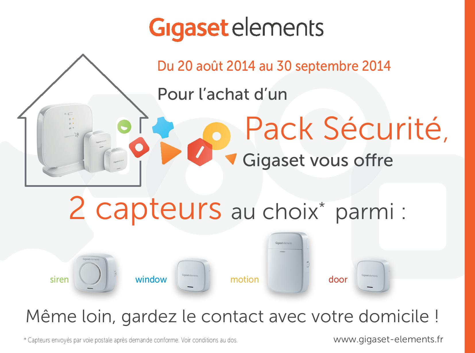 bon plan gigaset pack securite achete 2 capteurs offerts