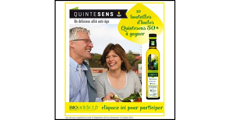 Tirage au Sort Bio Addict : Une bouteille d'huile bio Quintesens 50+  à Gagner - anti-crise.fr