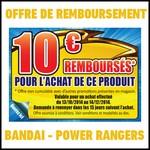 Offre de Remboursement (ODR) Bandai : 10 € sur Accessoires Power Rangers - anti-crise.fr