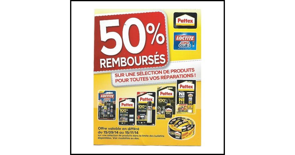 Offre de Remboursement (ODR) Pattex / Loctite : 50 % Remboursés jusqu'à 3 produits - anti-crise.fr
