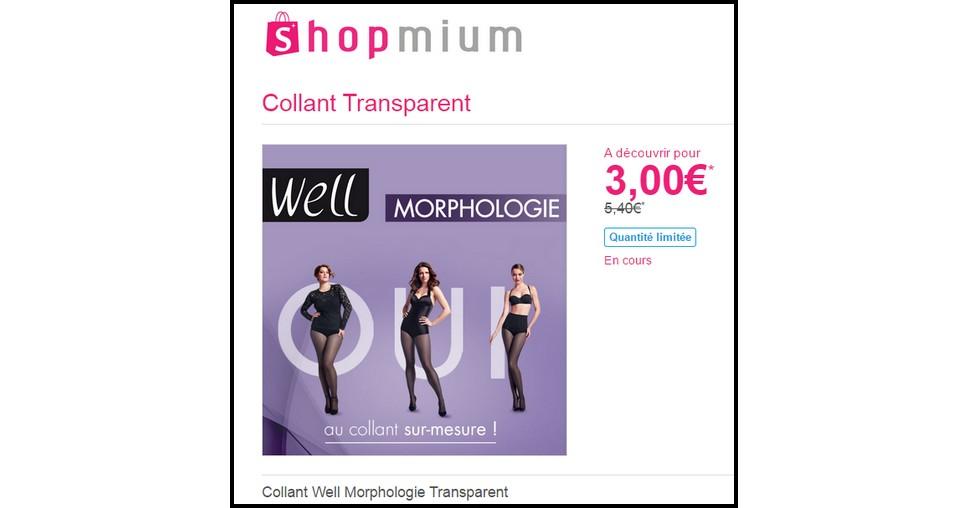 Offre de Remboursement (ODR) Shopmium : Collant Well Morphologie Transparent à 3 € - anti-crise.fr