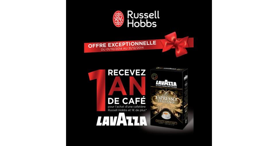 Bon Plan Russell Hobbs :  1 an de café Lavazza pour l'achat d'une Cafetière - anti-crise.fr
