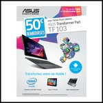 Offre de Remboursement (ODR) Asus : 50 € sur Tablette Transformer Pad TF103 - anti-crise.fr