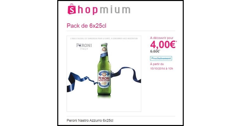 Offre de Remboursement (ODR) Shopmium : Peroni Nastro Azzurro 6x25cl à 4 € chez Monoprix - anti-crise.fr