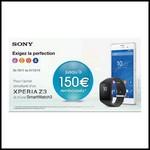Offre de Remboursement (ODR) Sony : Jusqu'à 150 € sur Xperia Z3 + Smartwatch3 - anti-crise.fr
