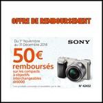 Offre de Remboursement (ODR) Sony : 50 € sur Appareil Photo compact à objectif interchangeable - anti-crise.fr