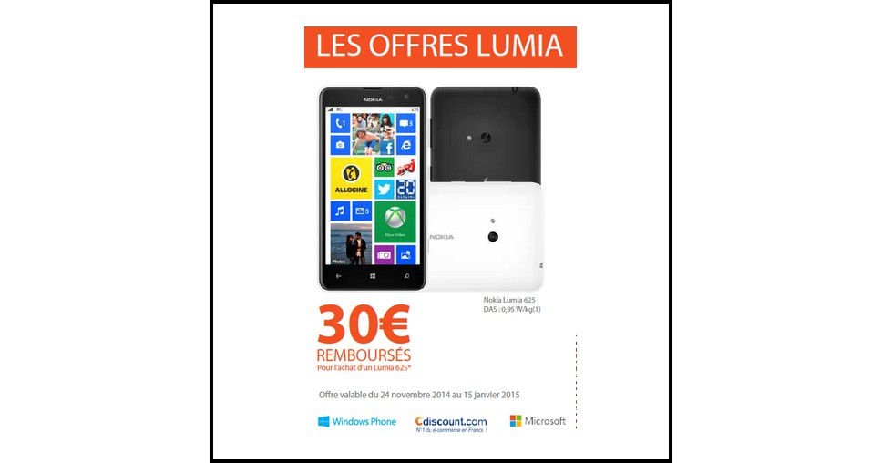 Offre de Remboursement (ODR) Nokia : 30 € sur Nokia Lumia 625 - anti-crise.fr