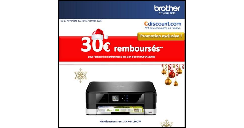 Offre de Remboursement (ODR) Cdiscount / Brother : 30 € sur Imprimante Multifonction 3 en 1 Jet d'Encre - anti-crise.fr