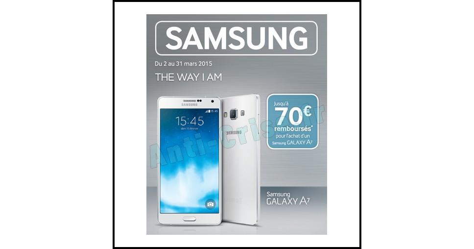 Offre de Remboursement (ODR) Samsung : Jusqu'à 70 € sur Smartphone Galaxy A7 - anti-crise.fr
