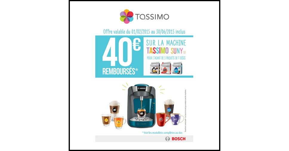 Offre de Remboursement (ODR) Bosch : 0 € sur Tassimo Suny T32 - anti-crise.fr