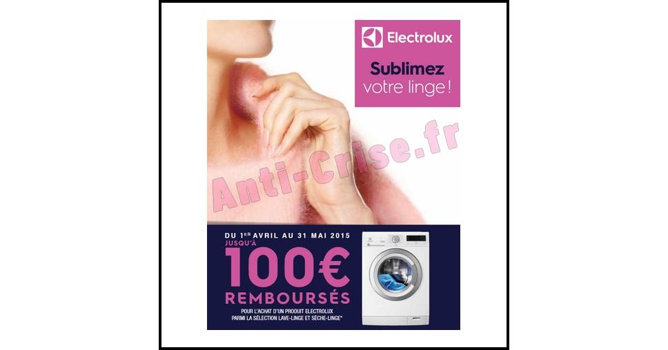 Offre de Remboursement (ODR) Electrolux : Jusqu'à 100€ sur Lave-Linge et Sèche-Linge - anti-crise.fr