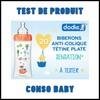 Test de Produit Conso Baby : Nouveau Biberon anti-colique tétine plate Sensation+ de Dodie - anti-crise.fr