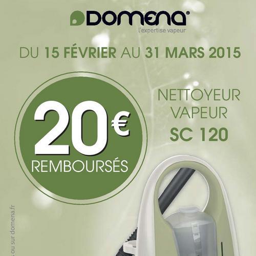 Offre de Remboursement (ODR) Domena : 20 € sur Nettoyeur Vapeur SC 120 - anti-crise.fr