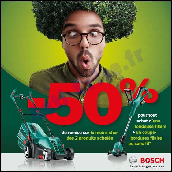 Offre de Remboursement (ODR) Bosch : 50 % sur l'achat d'une Tondeuse + un Coupe Bordure - anti-crise.fr
