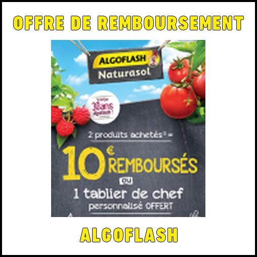 Offre de Remboursement (ODR) Algoflash : 10 € remboursés ou 1 tablier de chef personnalisé offert - anti-crise.fr