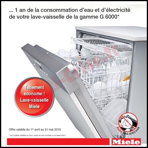 Bon Plan Mièle : La consommation annuelle d'eau et d'électricité de votre lave-vaisselle Remboursée - anti-crise.fr