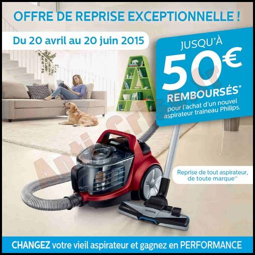 Offre de REmboursement (ODR) Philips : 50 € sur Aspirateur Traineau - anti-crise.fr