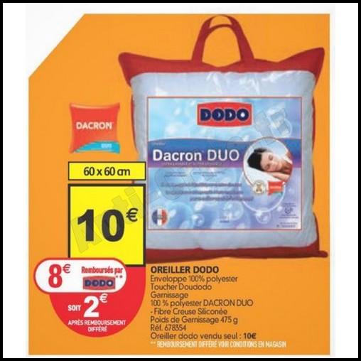 Offre de Remboursement (ODR) Dodo : 8 € sur Oreiller Dacron Duo - anti-crise.fr