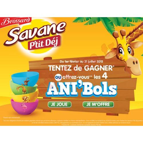 Instants Gagnants Brossard : Lot de 4 Ani'Bols Savane à Gagner - anti-crise.fr