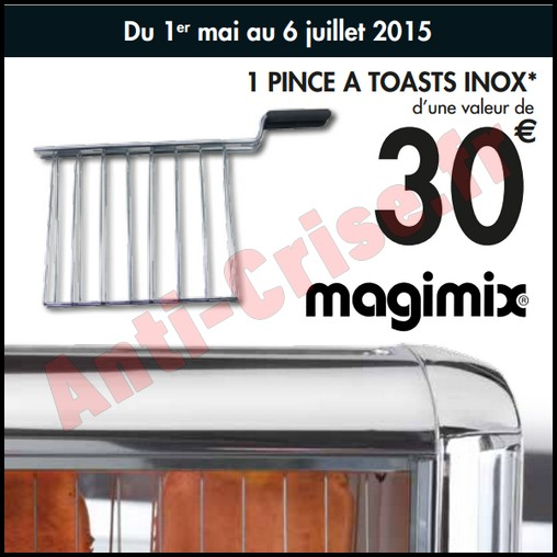 Bon Plan Magimix : 1 Pince à Toasts Inox Offerte pour 1 € de plus - anti-crise.fr