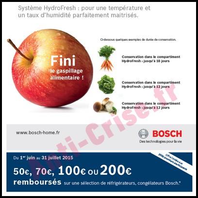 Offre de Remboursement Bosch : 200 € sur Réfrigérateurs et Congélateurs - anti-crise.fr