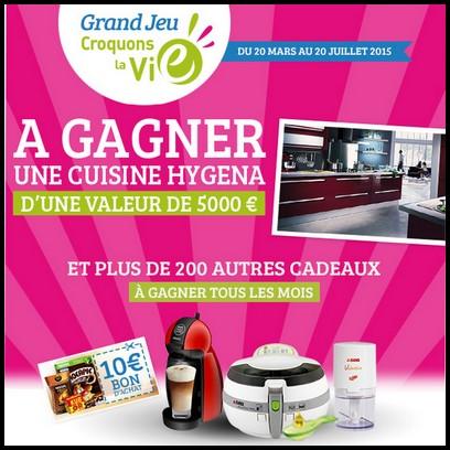 Instants Gagnants + Tirage au Sort Croquons la Vie : Une cuisine Hygéna et des Bons de 10 € à Gagner - anti-crise.fr