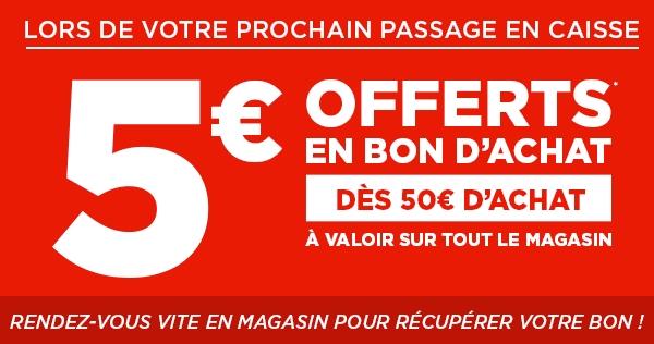 Bon Plan Bon d'Achat de 5€ dès 50€ chez Géant Casino