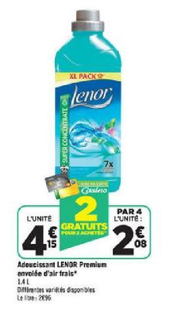 Optimisation 4 Bidons de Lénor gratuits chez Géant Casino
