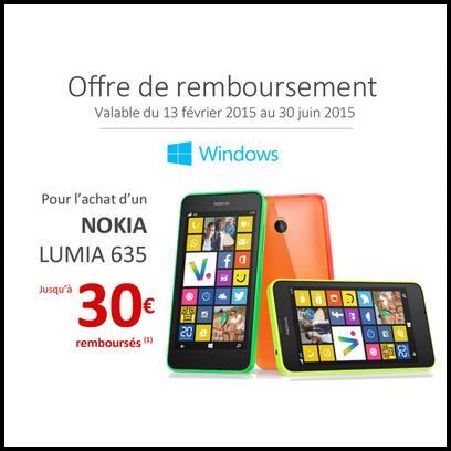 Offre de Remboursement Nokia : 30 € sur Lumia 635 - anti-crise.fr