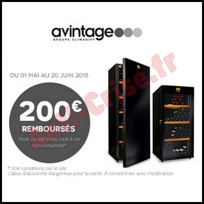 Offre de Remboursement Avintage : 200 € sur Caves Diva Evolution - anti-crise.fr