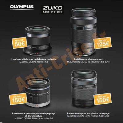 Offre de Remboursement Olympus : Jusqu'à 150 € sur Objectifs M.Zuiko Digital anti-crise.fr