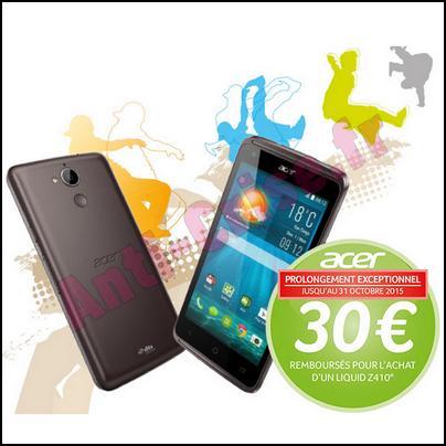 Offre de Remboursement Acer : 30 € sur Smartphone Liquid Z410 - anti-crise.fr