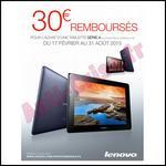 Offre de Remboursement Lenovo : 30 € sur Tablette Série A - anti-crise.fr