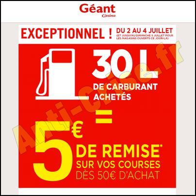Bon Plan Géant Casino : 30 L de Carburant Achetés = 5 € de Remise sur vos Courses - anti-crise.fr