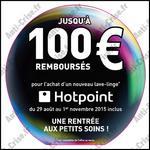 Offre de Remboursement Hotpoint : 100 € sur Lave-Linge - anti-crise.fr