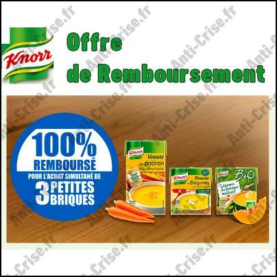 Offre de Remboursement Knorr : 3 Briques de Soupe 100 % Remboursées - anti-crise.fr