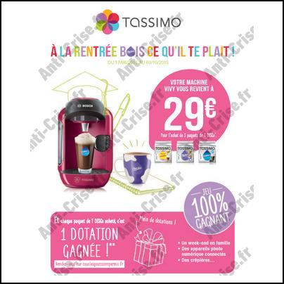 Offre de Remboursement Tassimo : Machine à Café Vivy à 29 € - anti-crise.fr
