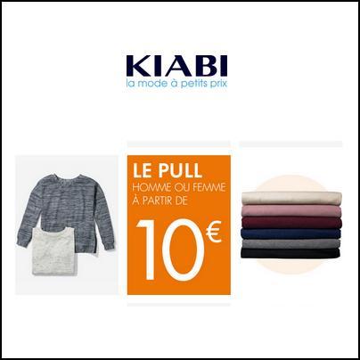 Kiabi : Pull Homme ou Femme à partir de 10 € - anti-crise.fr