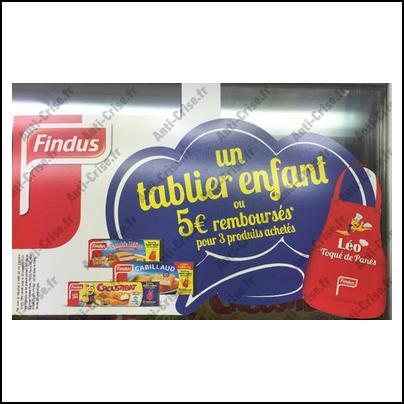 Offre de Remboursement Findus : 1 Tablier Enfant ou 5 € pour 3 produits achetés - anti-crise.fr