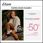 Etam : lovely Week - jusqu'à 50 % sur la Lingerie et le Prêt-à-Porter - anti-crise.fr