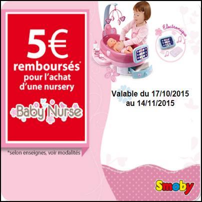 Offre de Remboursement Smoby : 5 € pour l'achat d'une Nursery - anti-crise.fr