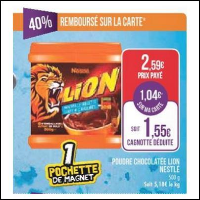 Bon Plan Lion® : Poudre Cacaotée 500g Gratuite chez Match - anti-crise.fr
