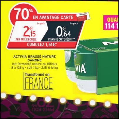 Bon Plan Danone : Pack de 8 Yaourts Activia Brassé Nature Gratuit chez Intermarché - anti-crise.fr
