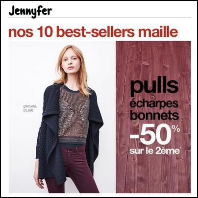 Bon Plan Jennifer : 50 % sur le 2ème Pull, Echarpe, Bonnet - anti-crise.fr